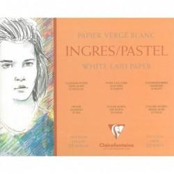 CLAIREFONTAINE Bloc 25 feuilles Ingres-Pastel encollé 24 x 30 cm 130g Blanc
