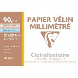 CLAIREFONTAINE Pochette vélin millimétré bleu/bistre A4 12 Feuilles 90g