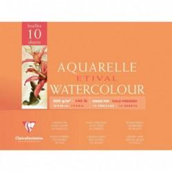 CLAIREFONTAINE Bloc Aquarelle Etival encollé 4 côtés 300g grain fin 10 Feuilles 18x24 cm