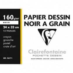 CLAIREFONTAINE Pochette Etival 24x32 12F 160g papiers à dessin Noir