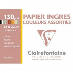 CLAIREFONTAINE Pochette dessin Ingres 24x32 12F 130g couleurs assorties