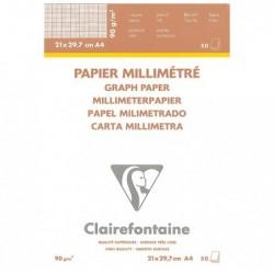 CLAIREFONTAINE Bloc papier vélin millimétré encollé A4 50F 90g