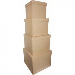 DÉCOPATCH Assortiment 4 boîtes carrées 16x14/25x20cm à décorer