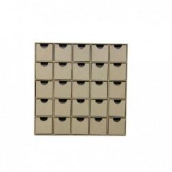 DÉCOPATCH Etagère multi-tiroirs 25 tiroirs à décorer 25 x 25 cm