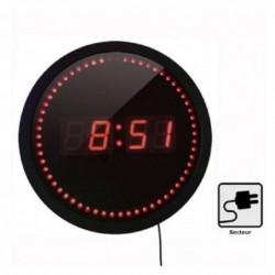 ORIUM Pendule Electrique ( Câble 1,8 m) Diam 30 cm Affichage LED Rouge