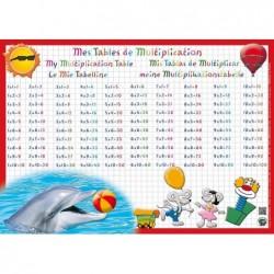 """ARIS EDITIONS Sous-main et Set de table éducatif 30x42 Plastifié, effaçable """"tables multiplication"""""""