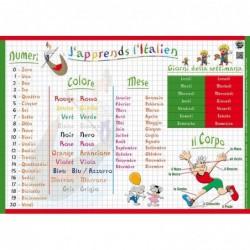 """ARIS EDITIONS Sous-main et Set de table éducatif 30x42 Plastifié, effaçable """"J'apprends l'Italien"""""""