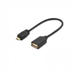 EDNET câble OTG USB A Femelle - micro USB contact Or