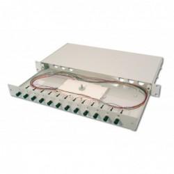 DIGITUS Fiber Optic Sliding Splice Box. 1U. Equipped 12x ST. incl. PG 16 Screw. Splice Cassette Color Pigtails OM2. Adapter