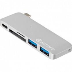 ESTUFF Hub USB-C Avec 1 USB-C 2 USB 3.0 et Lecteur SD/MicroSD Silver