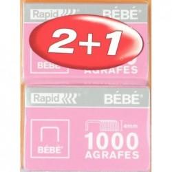 RAPID Pack de 2 boites de 1000 Agrafes Bebe Cuivrées 4mm + 1 GRATUITE