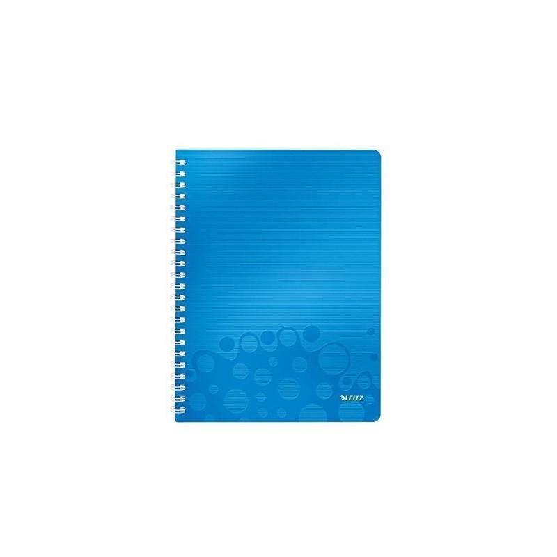 LEITZ Cahier WOW A4 80 pages ligné Bleu métallisé