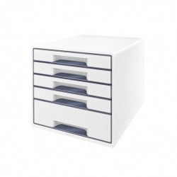 LEITZ Bloc de classement WOW 5 tiroirs blanc
