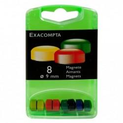 EXACOMPTA Boîte de 8 aimants F9 9mm de diamètre Couleurs assorties