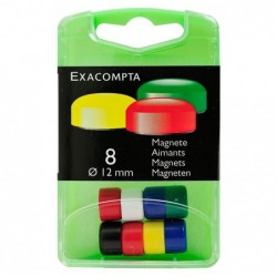 EXACOMPTA Boîte de 8 aimants F12 12mm de diamètre Couleurs assorties