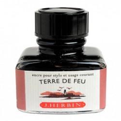 """HERBIN Encre traditionnelle à stylo en flacon """"D"""" 30ml Terre de feu"""