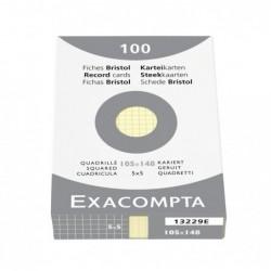 EXACOMPTA ETUI de 100 Fiches BRISTOL A5 105x148 mm 5X5 Jaune