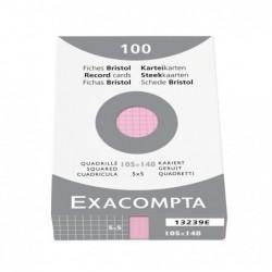 EXACOMPTA Etui de 100 Fiches Bristol 105x148 mm 5X5 non perforées Rose