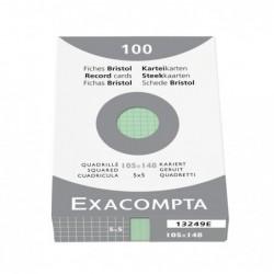 EXACOMPTA Étui de 100 fiches Bristol quadrillé 5x5 non perforé 105x148mm Vert