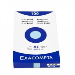 EXACOMPTA Étui de 100 fiches bristol uni non perforé 148x210mm Azur