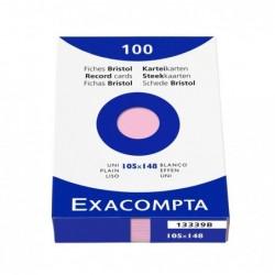 EXACOMPTA Étui de 100 fiches bristol uni non perforé 105x148mm Rose