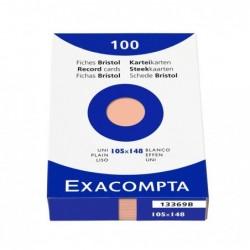 EXACOMPTA Étui de 100 fiches bristol uni non perforé 105x148mm Orange