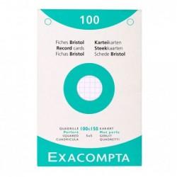 EXACOMPTA Étui de 100 fiches bristol quadrillé 5x5 perforé 100x150mm Blanc