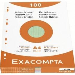 EXACOMPTA Étui de 100 fiches bristol quadrillé 5x5 perforé 210x297mm Couleurs assorties