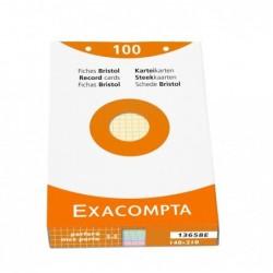 EXACOMPTA Étui de 100 fiches bristol quadrillé 5x5 perforé 148x210mm Couleurs assorties
