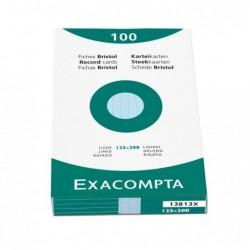 EXACOMPTA Étui de 100 fiches bristol ligné non perforé 125x200mm Bleu