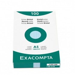 EXACOMPTA Étui de 100 fiches bristol ligné non perforé 148x210mm Azur