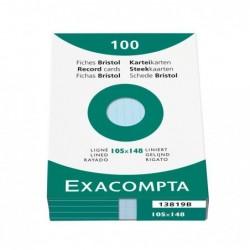 EXACOMPTA Étui de 100 fiches bristol ligné non perforé 105x148mm Bleu
