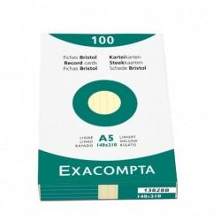 EXACOMPTA Étui de 100 fiches bristol ligné non perforé 148x210mm Jaune