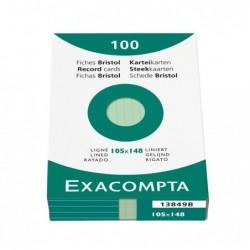 EXACOMPTA Étui de 100 fiches bristol ligné non perforé 105x148mm Vert