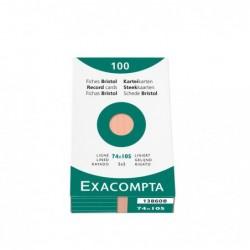 EXACOMPTA Étui de 100 fiches bristol ligné non perforé 74x105mm Orange