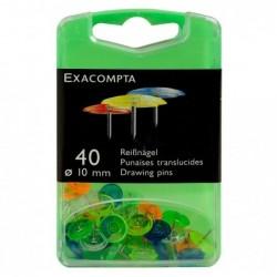 EXACOMPTA Boîte de 40 punaises Linicolor® pointe 7mm 10mm diamètre Coul. ass. translucide