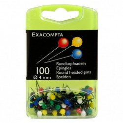 EXACOMPTA Boîte de 100 épingles sphériques hauteur 15mm 4mm de diamètre Couleurs assorties
