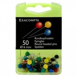 EXACOMPTA Boîte de 50 épingles sphériques hauteur 15mm 6mm de diamètre Couleurs assorties