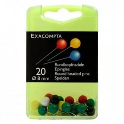 EXACOMPTA Boîte de 20 épingles sphériques 8mm de diamètre Couleurs assorties