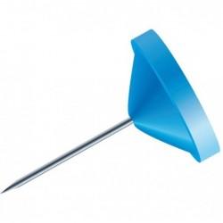 EXACOMPTA Boîte de 100 épingles à tête plate unie Hauteur 8mm 5mm de diamètre Bleu clair