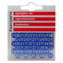 EXACOMPTA Boîte de 100 épingles à tête plate numérotée de 0 à 99 8mm de diamètre Bleu