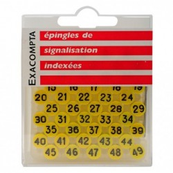 EXACOMPTA Boîte de 100 épingles à tête plate numérotée de 0 à 99 8mm de diamètre Jaune