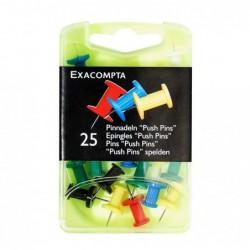 EXACOMPTA Boîte de 25 épingles Push Pins hauteur 7mm 10mm de diamètre Couleurs assorties