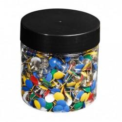 EXACOMPTA Boîte 1000 punaises en laiton hauteur 9mm 9mm  diamètre Couleurs assorties