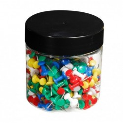 EXACOMPTA Boîte de 200 épingles Push Pins H 7mm Diam 10mm Couleurs translucides assorties