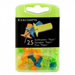 EXACOMPTA Boîte de 25 épingles Papic hauteur 7mm 10mm diamètre Coul. ass. translucide