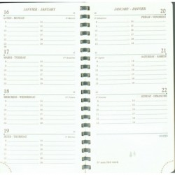 MIGNON Recharge spiralée agenda AS16R 154x78 mm 1 S / 2 Pages- Tranche Or