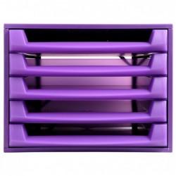 DAUPHIN Bloc de classement THE BOX Fantasy Works 5 tiroirs ouvert Violet/violet translucide