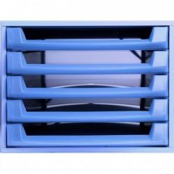 EXACOMPTA Bloc de classement THE BOX Fantasy Works 5 tiroirs ouvert Bleu / Bleu Translucide