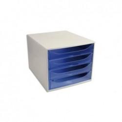 """EXACOMPTA Caisson 4 tiroirs """"ECOBOX"""" Office gris/bleu glacé transparent"""